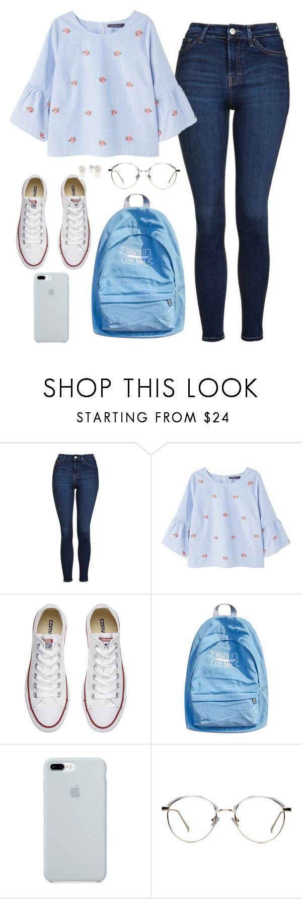 """"" by magscerasuolo on Polyvore featuring Topshop, Violeta by Mango, Converse, WithChic y ETUÍ"
