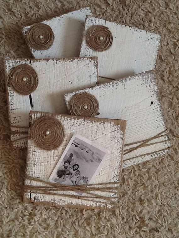 White distressed barn wood picture frames with rapped jute and flower. Perfect wedding or good ol home decor. Size of barn wood plank: