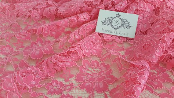 Pink Lace fabric, pink evening lace, Gorgeous pink chantilly lace fabric, evening dress lace