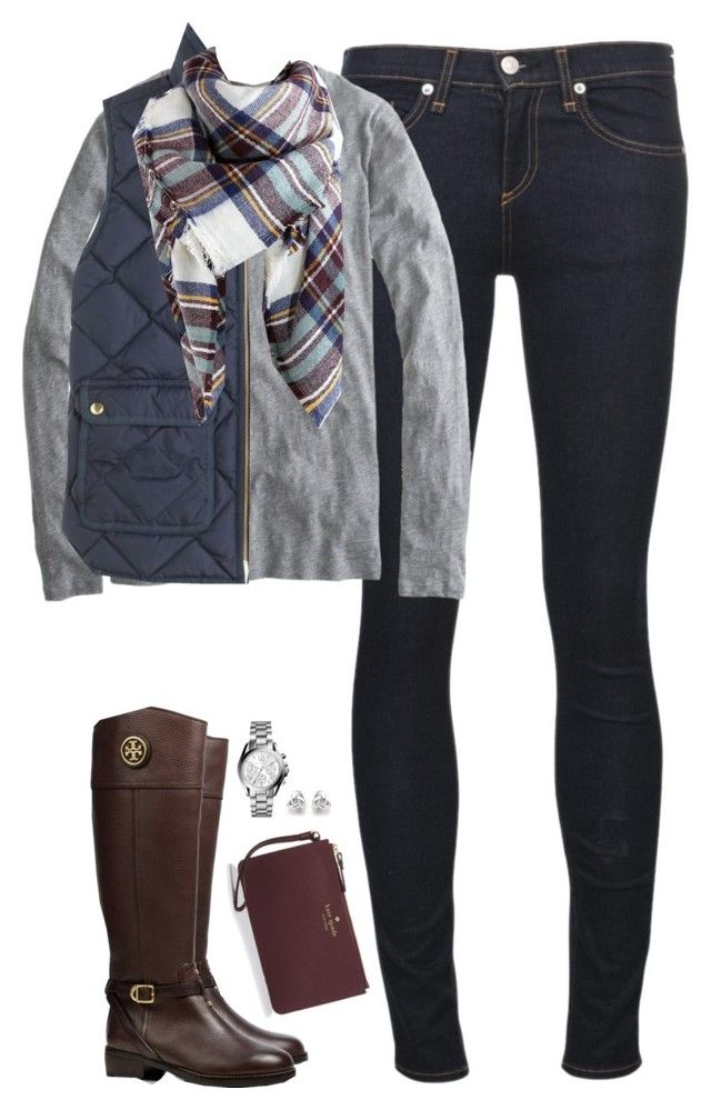"""Quilted vest, long sleeve tee & tartan scarf"" by steffiestaffie ❤ liked on Polyvore featuring rag & bone/JEAN, J.Crew, Kate Spade, Tory Burch, Georgini and Michael Kors"