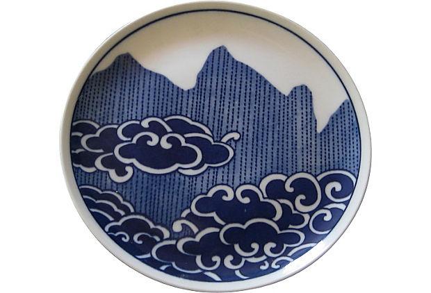 Blue & White Japanese Porcelain Plate