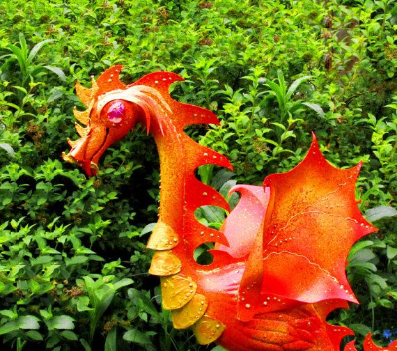 Fire Dragon Flamingo   handmade garden art sculpture by CedarMoon, $75.00