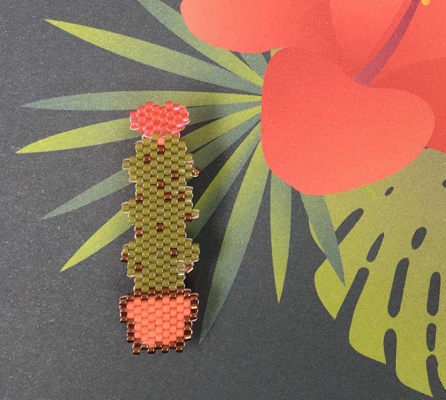 1er motif perso de cactus en perles Miyuki Delicas. Grille de tissage disponible sur le blog.