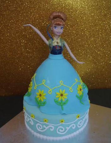 Anna Frozen Fever princess doll cake