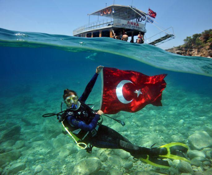 diving, sea,Turkish Flag, Fethiye Turkey