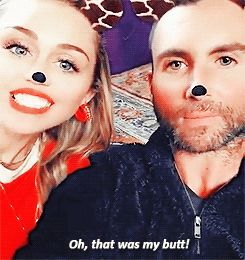 "tears-dry: """"Adam Levine & Miley Cyrus on The Voice set (via Adam's Snapchat). "" """