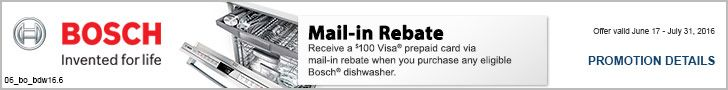 Get a $100 Visa prepaid card via mail-in rebate when you buy any eligible Bosch dishwasher. Offer valid through 7/31. http://www.bobmillers.com/promotions/promos#utm_sguid=166133,68eedfc0-0a36-5a51-4bd1-6b7e70755932