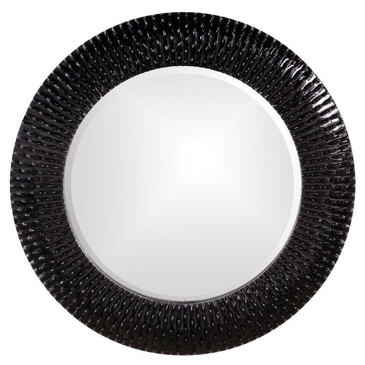 "Howard Elliott Bergman Glossy Black Round Mirror 32"" Diameter x 1"""