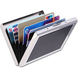 Credit Card Holder, IMS [Best Protection] RFID Blocking Portable Wallet High Quality Smooth Stainless Leather Case Slim Up to 6 Credit Cards Unisex (Black)