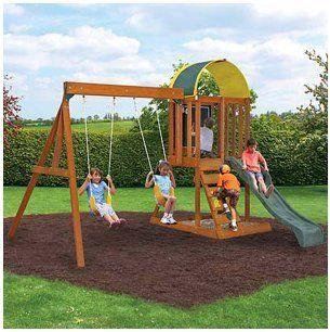Ready to Assemble Wooden Swing Set. Cedar Wood Swingset, Climbing Wall and Sand Box. Wood Swing Set SALE !!!! 2 Swings, Chalk Wall and More. Heavy Duty Wooden Swing Set includes 10YR Warranty.