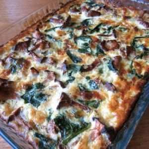 Chanterelle spinach pie - Kanttareilli-pinaatti piirakka