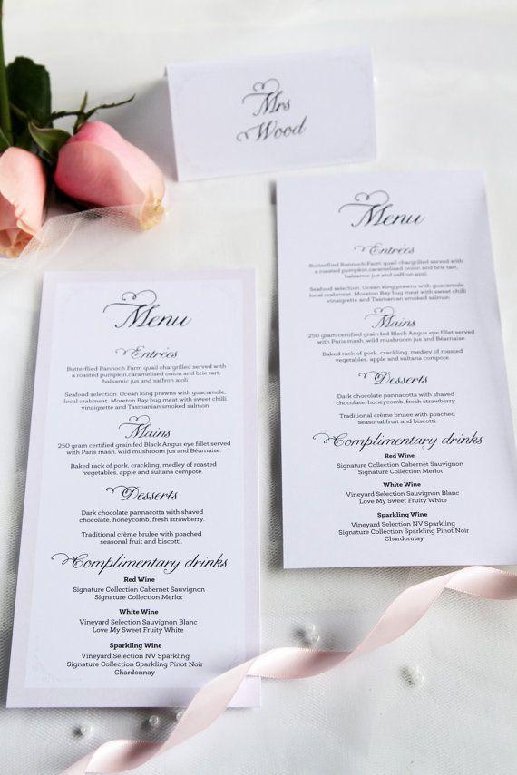 Wedding Menus, Modern and Elegant, Premium Cardboard