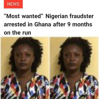 Bridget Enchill Obeng a Nigerian woman dubbed notorious Nigerian Female Serial fraudster has been finally apprehended by the Criminal Investigation Department (CID) of the Ghana Police Service after reportedly playing hide-and-seek with the police for nine months. She is said to have defrauded over 10 victims under the pretext of selling vehicles to them. Bridget Enchill Obeng aka Naana was busted at Baah Yard Awoshie Accra. Reports from Ghana say the police had earlier arrested a woman…