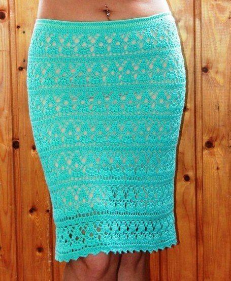 Летняя юбка-карандаш крючком