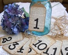 Table Numbers Rustic Shabby Chic Vintage Wedding Reception Tags - #1-15