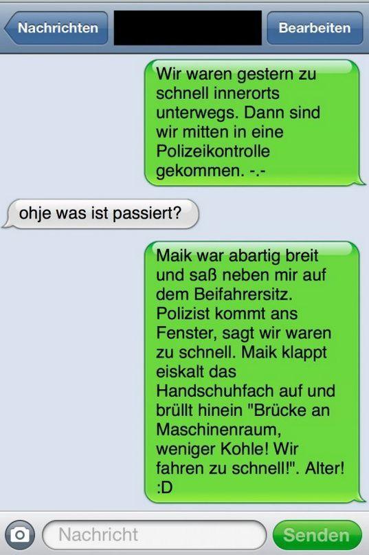 Unerwartete Polizeikontrolle - SMS Fail