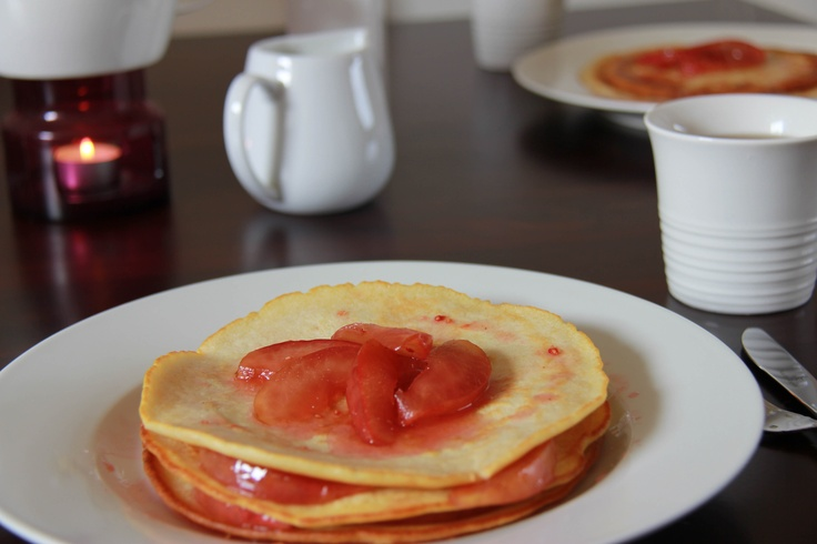 pancakes with Apple and raspberry topping :-)