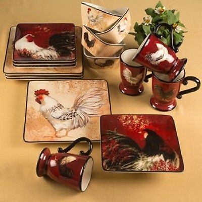 30 best Rooster dinnerware images on Pinterest | Rooster decor ...