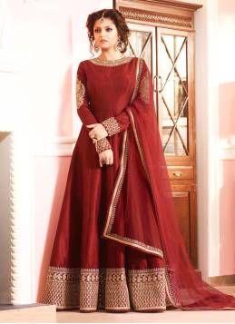 Kapadewala Latest Red Banglori Silk Semi stitched Embroidered Embellished Free Size XXL Salwar Suit for Women