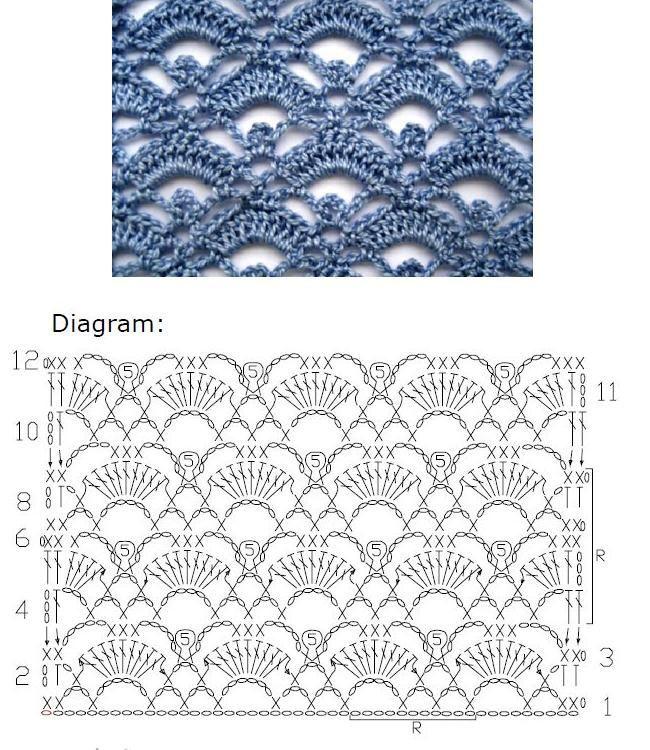 Crochet Lace stitch Nr 2006 ~~ MyPicot   Free crochet patterns: