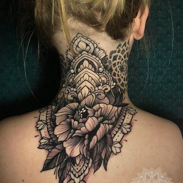 Tattoo Necktattoo Neck Mandala Mandalatattoo Dotwork Dotworktattoo Dotje Dedicated Peony Peonytattoo F Neck Tattoo Body Art Tattoos Dot Work Tattoo