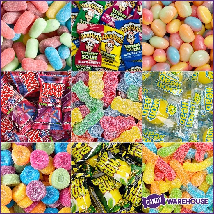 Which of these sour candies is your favorite?  Warheads?  Sour Patch Kids?  Get them all here: http://www.candywarehouse.com/flavors/sour-candy/?utm_source=Pinterest&utm_medium=Social&utm_campaign=Sour