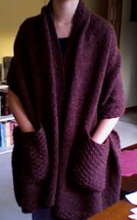 Reader's wrap - big shawl with pockets. Summer mornings on the deck reading with my coffee...yup!