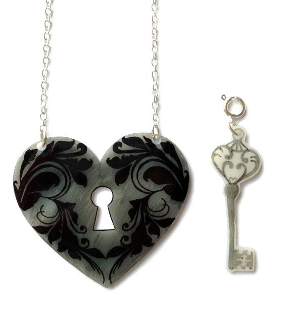 Heart Lock and Key Necklace Valentine's Removable by ...