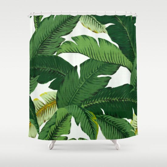 Banana Leaves Shower Curtain by Huntleigh   Made from 100% polyester our designer shower curtains are printed in the USA and feature a 12 button-hole