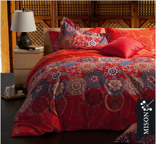 Fashion European Country Style Comforter Sets Elegant Exotic Shabby Chic Bedding Modern Colorful Bohemian Bedding Sets(China (Mainland))