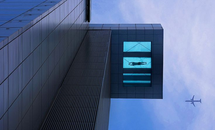 A pool with a view! 24th storey pool in Shanghai - with nothing below you apart from a glass pane and a very big drop.