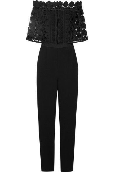 Black guipure lace and crepe Zip fastening along back 80% polyester, 13% viscose, 6% cotton, 1% spandex; lining: 97% polyester, 3% spandex Dry clean Imported