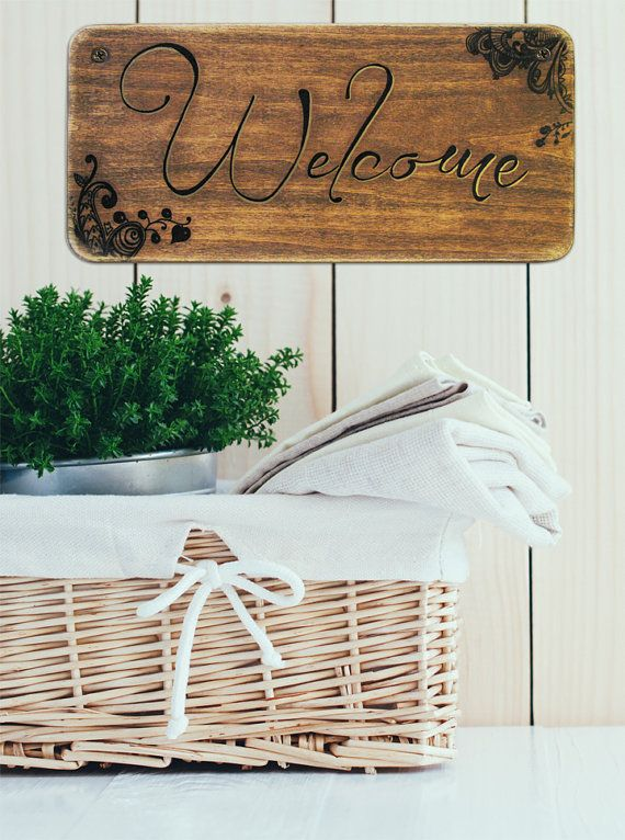 6x12 Home Sign Welcome Sign Newlywed Gift by Knotooshabbystudio