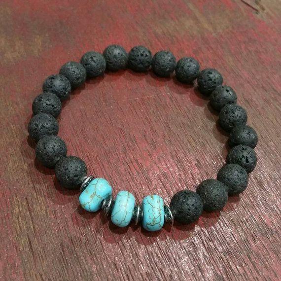 Mens bracelet, turquoise bracelet, black beaded bracelet for men, lava rock bracelet by BaublesDesigns4U on Etsy