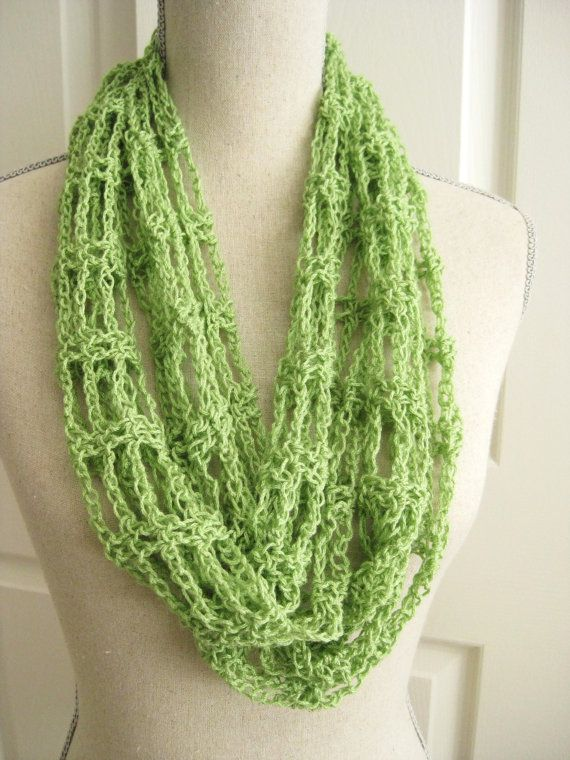Lacy Cowl Scarf Crocheted Spring Green Crochet Circle Scarf Green