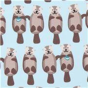 light blue Robert Kaufman fabric otter animal Otterrific Digital Print