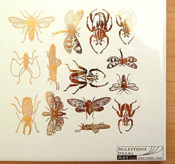 22K Gold Insect Decals for Glass or Ceramic by MilestoneDecalArt, $12.00