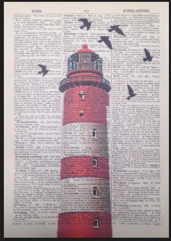 Rosso Vintage Faro Dizionario Pagina Immagine Di Stampa Arte Nautico Spiaggia | eBay