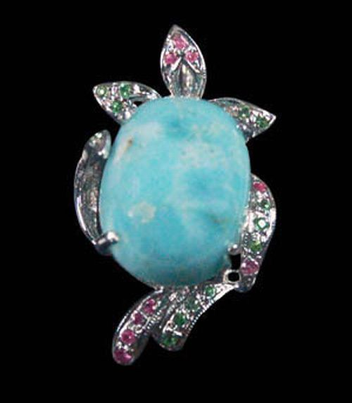 LARIMAR WITH NATURAL PINK SAPPHIRES & TSAVORITE GREEN GARNETS SILVER PENDANT    $125  plus $4.95 worldwide shipping registered post from thailand office I am kenneth Barnett american living in Thailands largest cutting center and gemstone market. I deal in all semi precious and precious gems of all types. Let me know if you need any gem singles or lots. thank your american friend in thailand Kenneth Barnett worldgemsimporters