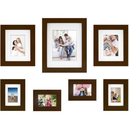 mainstays 7 piece wide gallery wall frame set available in multiple colors brown
