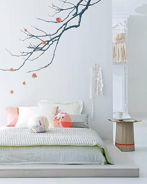 scandinavian interior style Bedroom Branch Wall design/decor platform bed  white and pink decor