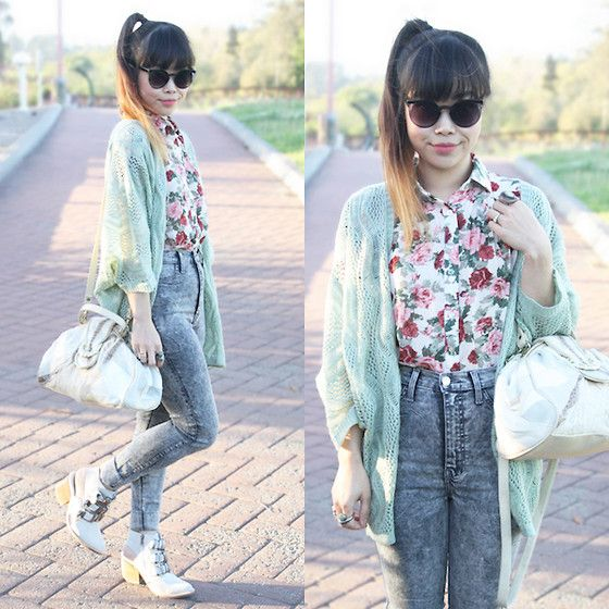 Jeffrey Campbell Tripoli, Zero Uv Sunglasses, Charlotte Russe Floral Chiffon Button Up, Red Berry Mint Pointelle Knit Duster, Thrifted Vintage Patchwork Leather Bag, Vibrant High Waisted Acid Wash Jeans