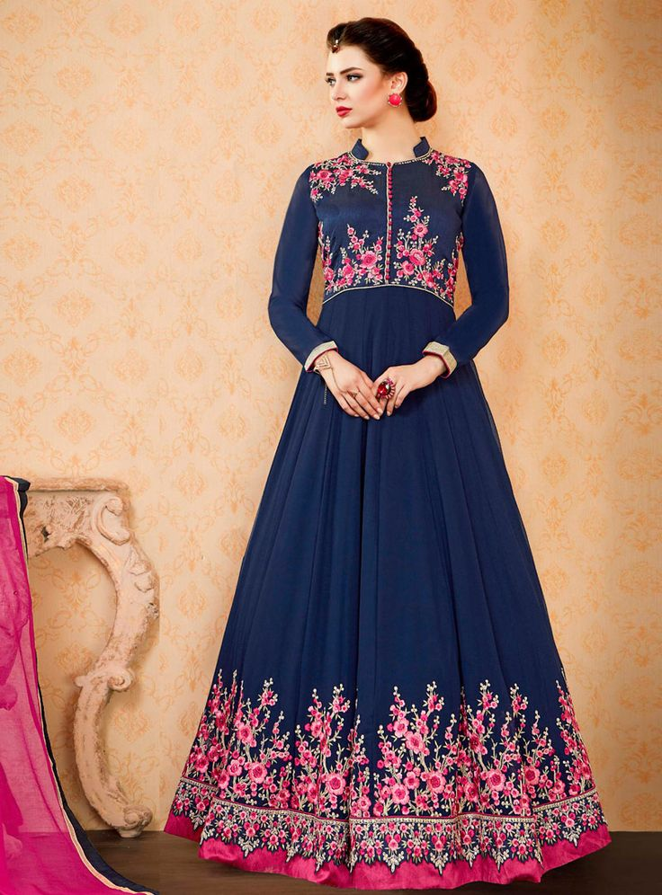 Navy Blue Georgette Floor Length Anarkali Suit 96206