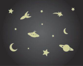 Gloed in het donker Plafond Stickers Luminous Rocket, Sterren, UFO en Maan