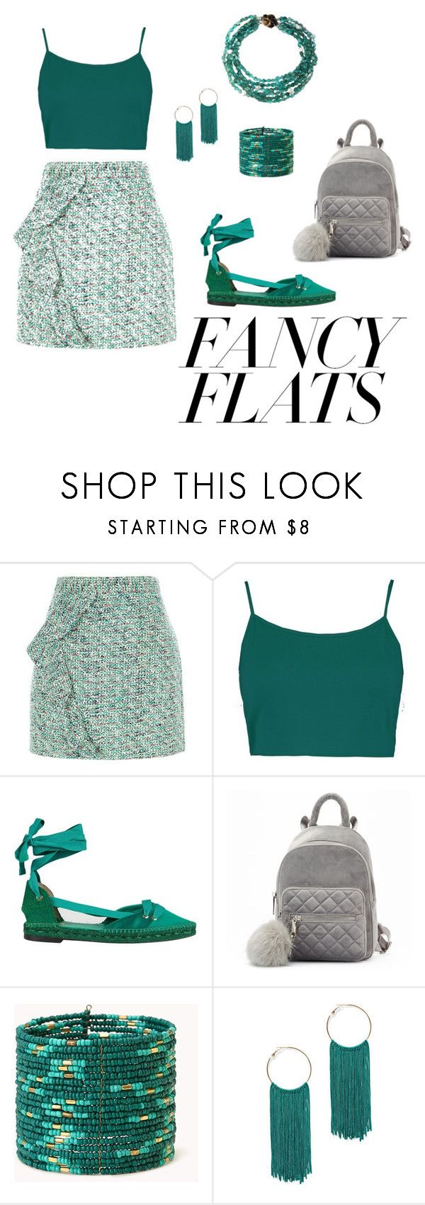 """Tealing out"" by jordan-alysa ❤ liked on Polyvore featuring River Island, Boohoo, Castañer, Forever 21, New York & Company and chicflats"