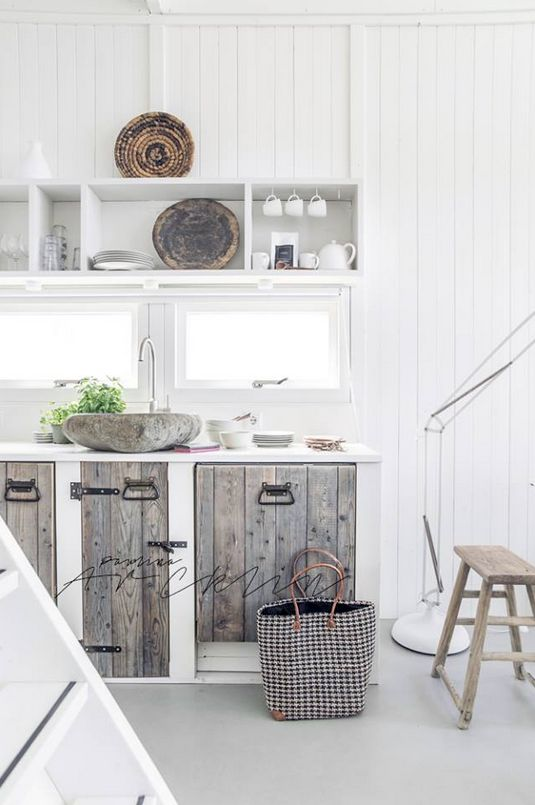 + #kitchen | ©Paulina Arcklin. LOVE the rustic cabinet doors, inset into drywall cubbies.