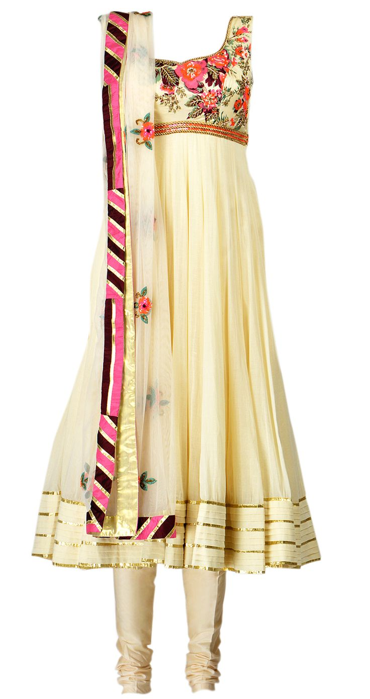 Arpita Mehta  White cotton anarkali with floral bodice and churidar