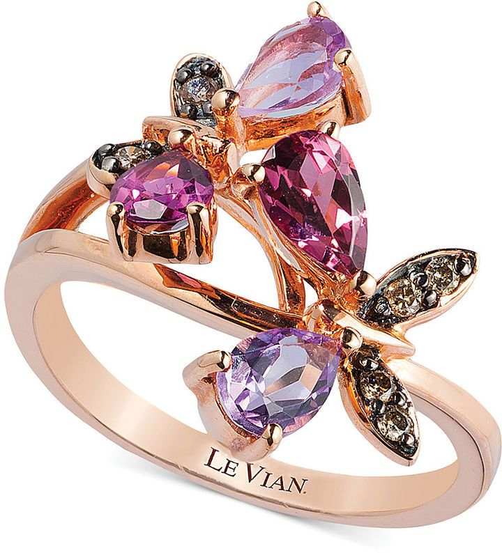 Le Vian Multi-Stone and Diamond Accent Butterfly Ring in 14k Rose Gold (1-1/6…