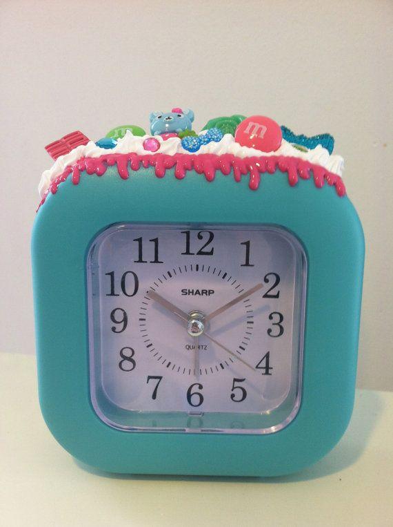 Cute Blue Decoden Whipped Cream Clock/Alarm Clock on Etsy, $10.00