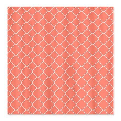 coral/grey bathroom Coral Quatrefoil Pattern Shower Curtain